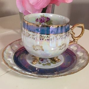 Vintage Seyei cup & saucer floral luminescent